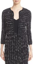Lela Rose Women's Speckled Knit Tweed Crop Jacket