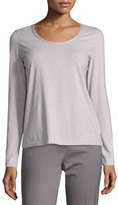 Lafayette 148 New York Melange Scoop-Neck Long-Sleeve Tee, Light Purple