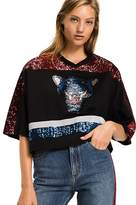 Tommy Hilfiger Sequin Tiger Oversized Crop Tee
