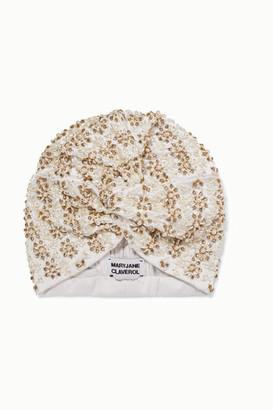MaryJane Claverol Philo Embellished Stretch-crepe Turban - Ivory