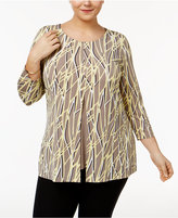 Alfani Plus Size Printed Split-Front Top, Only at Macy's