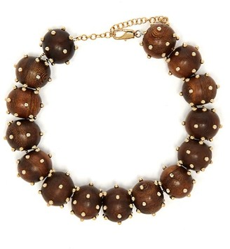 Vanda Jacintho - Studded Bead Choker Necklace - Brown