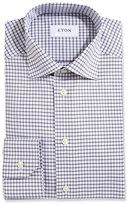 Eton Box Check Twill Dress Shirt, White/Navy