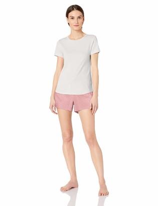Amazon Essentials Women's Lightweight Flannel Short and Cotton T-Shirt Sleep Set