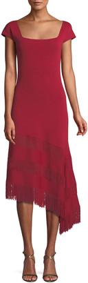 Sachin + Babi Sheryl Knit Dress w/ Asymmetric Fringe Ruffles