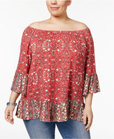 Style&Co. Style & Co Plus Size Printed Off-The-Shoulder Top, Only at Macy's