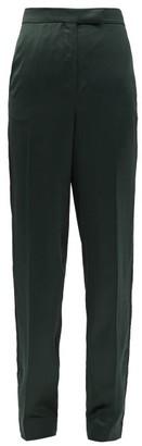 Ssōne Ssone - Metta Skinny-leg Side-striped Satin Trousers - Emerald