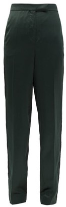 Ssōne Ssone - Metta Skinny-leg Side-striped Satin Trousers - Womens - Emerald