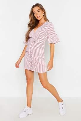 boohoo Lace Up Front Striped Mini Dress