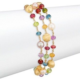 Marco Bicego Africa 18K Yellow Gold, Mixed Gemstone & 5MM Pearl Bracelet