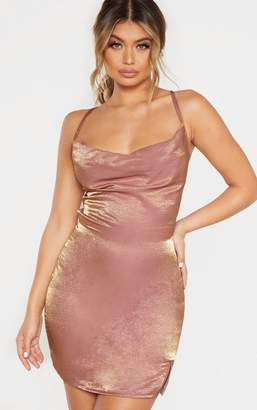 PrettyLittleThing Pink Metallic Cowl Strappy Back Bodycon Dress