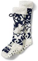 Lands' End Women's Sherpa Cuff Slipper Socks-Regiment Navy Snowflake