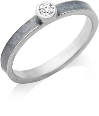 Miore By Joy Ladies' Sterling Silver Zirconia Engagement Ring with Grey Enamel Shoulders- Size L