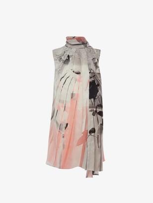 Alexander McQueen Trompe-l'il Scarf Neck Dress