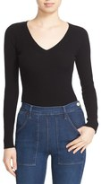 Autumn Cashmere Ribbed Cutout Sleeve V-Neck Top