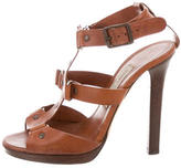 Jimmy Choo Leather Round-Toe Sandals