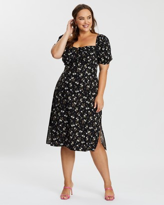 Atmos & Here Atmos&Here Curvy - Women's Black Floral Dresses - Dasha Midi Dress - Size 18 at The Iconic