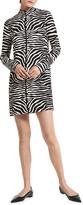 Thumbnail for your product : Michael Kors Collection Zebra-Print Mock-Neck Shift Mini Dress