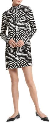 Michael Kors Collection Zebra-Print Mock-Neck Shift Mini Dress
