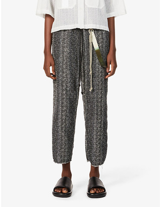 Song For The Mute Strap-embellished tapered high-rise cotton-blend trousers