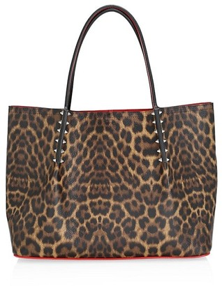 Christian Louboutin Small Cabarock Spiked Leopard-Print Leather Tote