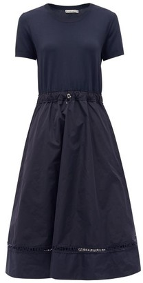 Moncler Logo-embroidered Shell And Crepe Dress - Womens - Navy