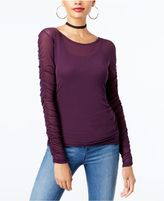 INC International Concepts Ruched-Sleeve Mesh Illusion Top, Created for Macy's