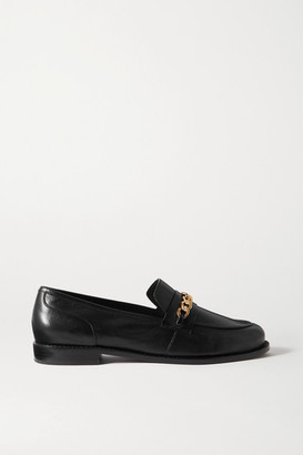PORTE & PAIRE Chain-embellished Leather Loafers - Black