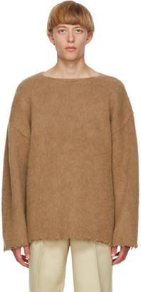 Jil Sander Beige Wool Fringe Sweater