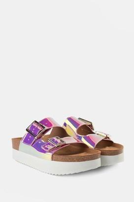 Shoe The Bear Cara Platform Metallic Slip Ons In Silver - 36