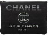 One Kings Lane Vintage Chanel Large Black Striped Clutch - Vintage Lux