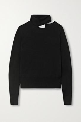 Bassike Cutout Merino Wool Turtleneck Top - Black