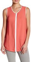 Susina Sleeveless Contrast Trim Shirt (Petite)