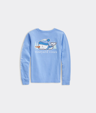 Vineyard Vines Girls' Snow Whale Long-Sleeve Pocket Tee