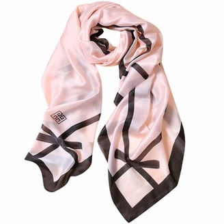 Voqeen Mulberry Silk Printed Scarf Ladies Womens Soft Fashion Retro Satin Long Wraps Shawl Brithday Christmas Gifts