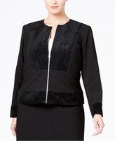 Calvin Klein Plus Size Faux-Suede Mixed-Media Jacket