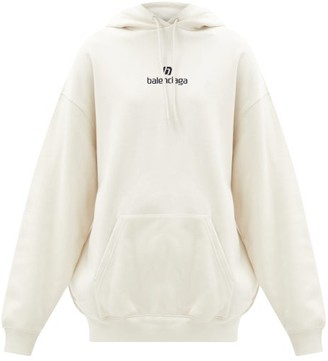 Balenciaga Logo-embroidered Cotton-jersey Hooded Sweatshirt - Cream