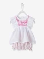 Vertbaudet Baby Embroidered Bodysuit Top & Bloomer Shorts