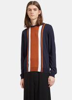Valentino Men's Striped Panel Round Neck Sweater In Navy