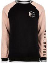 River Island Mens Black tipped raglan sleeve sweatshirt