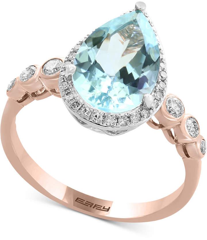 Effy Aquarius by Aquamarine (2-1/2 ct. t.w.) & Diamond (1/4 ct. t.w.) Ring in 14k Rose & White Gold