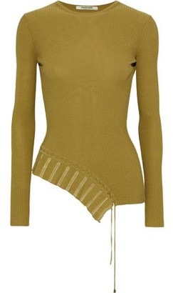 Roberto Cavalli Asymmetric Lace-up Ribbed-knit Top