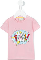 Fendi logo print T-shirt - kids - Cotton/Spandex/Elastane - 18 mth