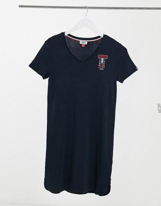 Tommy Jeans v-neck logo jersey dress in blue