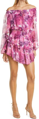 LoveShackFancy Popover Floral Long Sleeve Silk Minidress