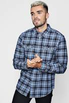boohoo Double Pocket Dobby Check Long Sleeve Shirt
