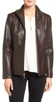 Cole Haan Women's Wing Collar Lambskin Leather Jacket