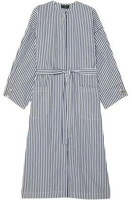Mother of Pearl Mireya Tie-front Striped Cotton-poplin Midi Dress