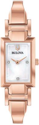 Bulova Women Diamond-Accent Rose Gold-Tone Stainless Steel Bangle Bracelet Watch 18x33mm