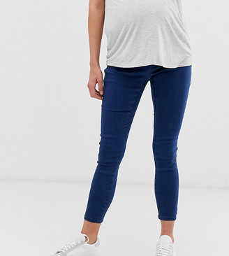 ASOS DESIGN Maternity pull on jegging in smokey blue wash with under the bump waistband